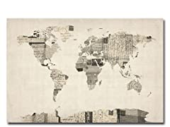 Vintage Postcards World Map 18x24 Canvas