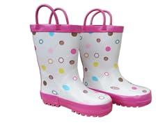 White Multi Dot Rain Boots