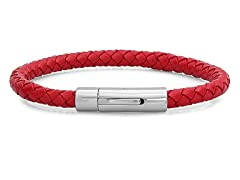 Men's Leather Braided Bracelet, Red
