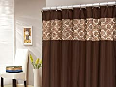 Lorena Faux Silk Jaquard Shower Curtain