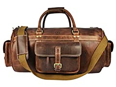 Aaron Leather Duffle Barrel Bag