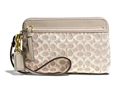 Coach Poppy Double Zip Wristlet Metallic Signature, Khaki