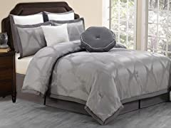 Hampshire 8pc Comforter Set-Grey-2 Sizes