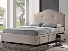 Armeena Beige Linen Bed 2-Sizes