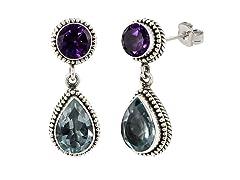 SS Balinese Round Amethyst & Pear Shape Blue Topaz Gemstone Dangle Earrings
