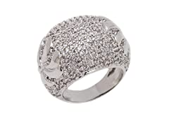 Rhodium Plated Brass and CZ Palm Ring