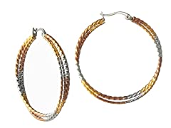 Stainless Steel Polish 3-Tone Twisted Hoop Earrings