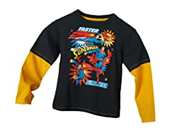Superman Long Sleeve Tee - Charcoal (4-7)