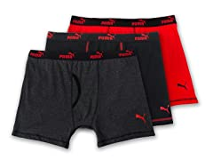 Puma Boxer Briefs 3-Pack, Grey/Red