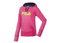 Fila Women's Contrast Hoody,Pink/Peacoat