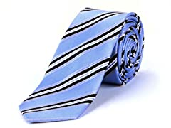 Silk Tie, Black & White Stripes