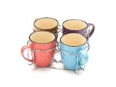 5-Piece Set: Coffee Mugs with Metal Stand