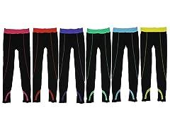 6Pk Solid Black Sports Leggings