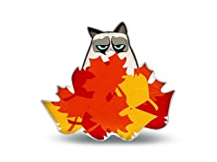 Grumpy Cat in Leaves Pillow