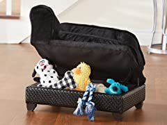 Ultra Plush Storage Bed - Basketweave Black