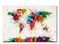 Paint Splashes World Map 18x24 Canvas