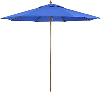 California Umbrella 9-Foot Round Faux Wood Market Umbrella