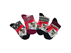 MUK LUKS® Women's 4 Pr Pk Crew Sock, Red
