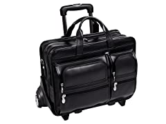 "Clinton Leather 17"" Wheeled Laptop Case"