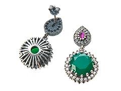 SS Round Dyed Emerald & White CZ Genuine Semi-Precious Gemstone Earrings