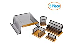 Executive 5 Piece Mesh Wood Office Desk