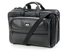 "15.6"" Leather Laptop Briefcase - Black"