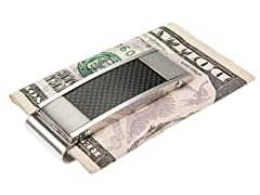 Brushed & Polished SS & Black Carbon Fiber Money Clip