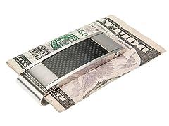 Brushed & Polished SS & Black Carbon Fiber Money Clip