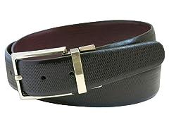 Brushed Nickel Belt - Textured Black