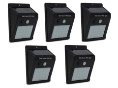 Solar Sensor Outdoor LED Light, 5-Pack