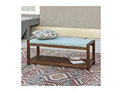 Outdoor Patio Wood Bench with Washable Cushions