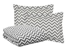 Zig Zag Ash 3pc Duvet Set - 4 Sizes
