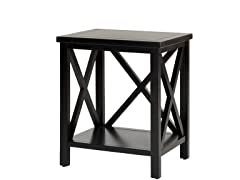 Candence Cross Back End Table Black