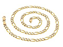 14K Gold Figaro Pave Chain Necklace