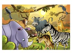 Jungle Cartoon Animals-II