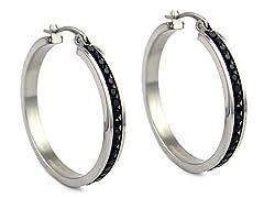 Stainless Steel Black CZ Hoops