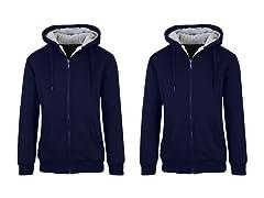 Men's Sherpa Lined Fleece Zip Hoodie 2Pk