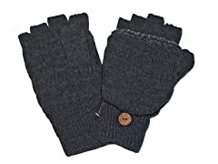 Muk Luks Men's Faux Fur Flip Mittens Grey