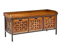Wooden Storage Bench - Honey Oak