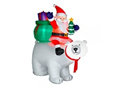 6' Santa Polar Bear Moving Head