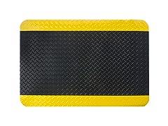 3' Indoor Diamond Mat, Black with Yellow