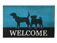 Outdoor Mat - Welcome, Blue