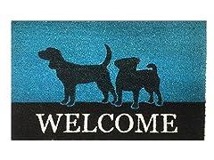 Outdoor Mat - Welcome, Blue