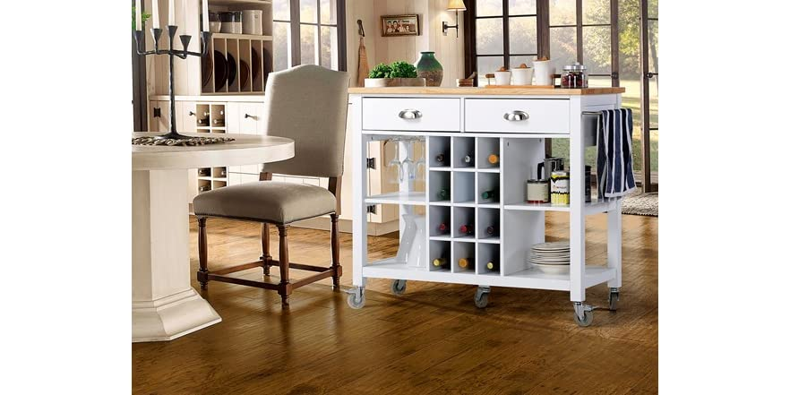 Wide Kitchen Island Cart 2 Colors