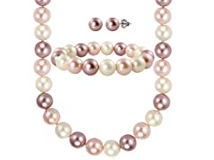 "SS ""Shades of Pink"" Shell Pearl 3-Piece Set"