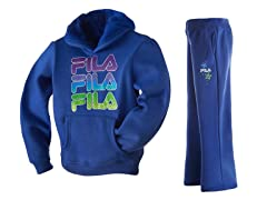 Girls Fleece Set - Logo, Blue (4-6X)