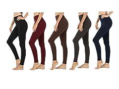 Women's Fleece-Lined Leggings 5 Pack