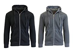 GBH Men's Fleece Zip Up Hoodie 2-Pack