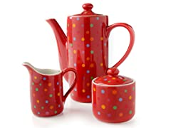Polka Dot Teapot, Sugar and Creamer Set - Red