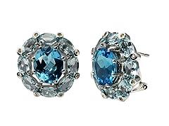 SS Blue Topaz Earrings w/ Omega Backs